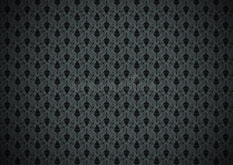 黑暗的花卉墙纸 向量例证