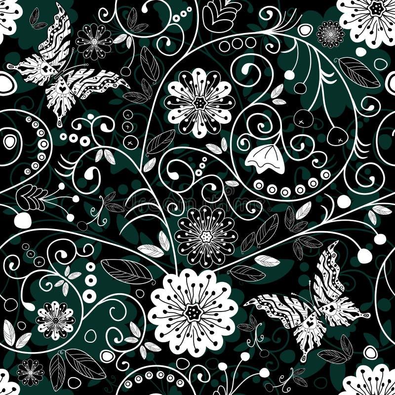黑暗的花卉模式无缝的白色 库存例证