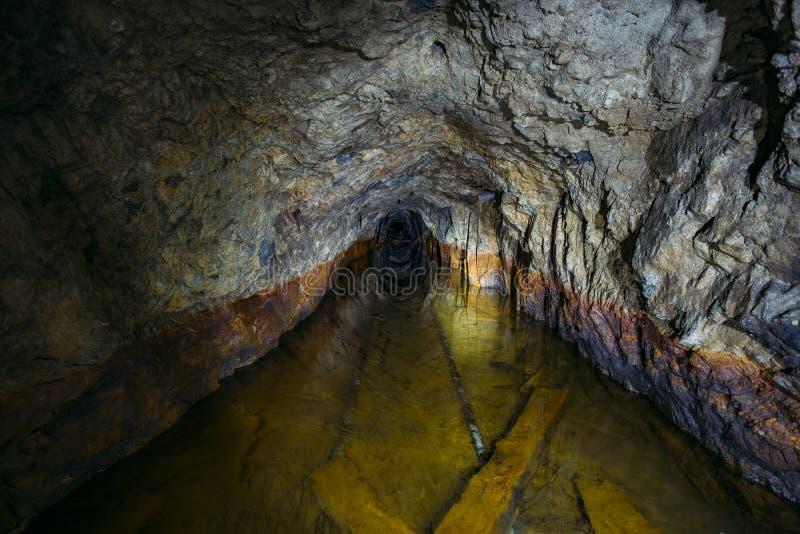 黑暗的蠕动的肮脏的被充斥的被放弃的矿隧道 免版税库存照片