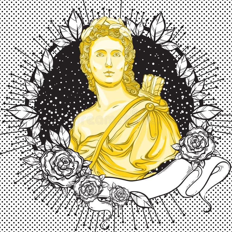 黑暗的言情维多利亚女王时代的有浮雕的贝壳 葡萄酒用叶子和玫瑰装饰的黑色框架的美丽的希腊人 Boho别致和浪漫s 库存例证