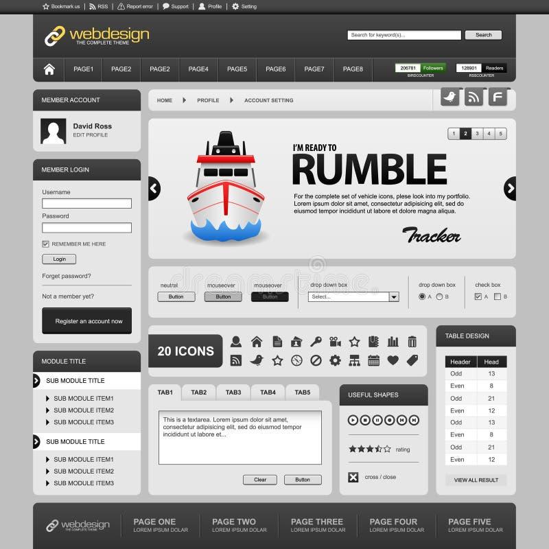 黑暗的设计要素灰色模板万维网网站