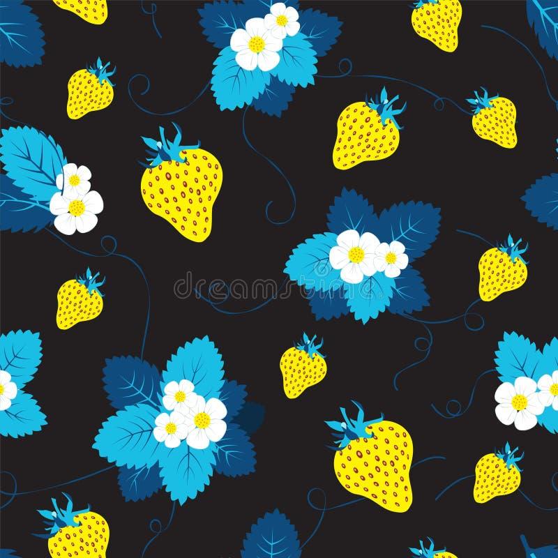 黑暗的轻的草莓季节果子纹理 抽象模式无缝的向量 库存例证
