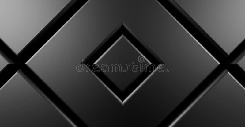 黑暗的金属正方形现代背景3d回报 库存例证