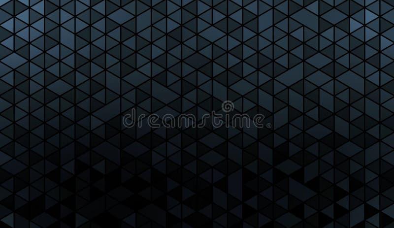 黑暗的金属淡光马赛克墙纸 黑蓝色水晶形状样式 几何趋向 闪烁的马赛克背景 皇族释放例证