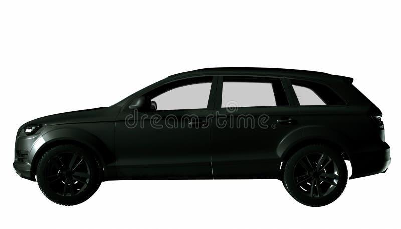 黑暗的银色SUV汽车被隔绝的侧视图 3d?? 皇族释放例证