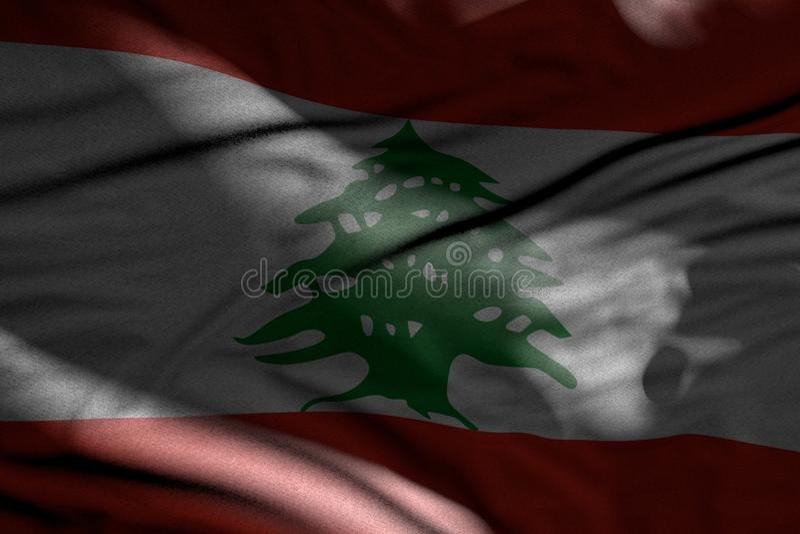 黑暗的黎巴嫩旗子逗人喜爱的照片与在与亮点的阴影放置的折叠的对此-任何假日旗子3d例证 向量例证
