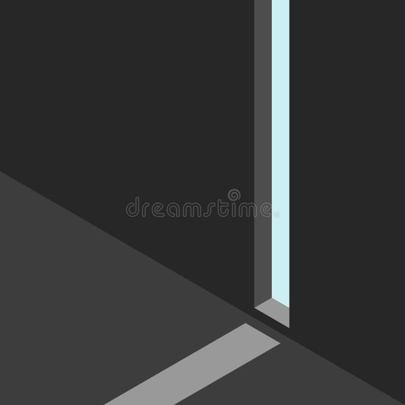 黑暗,墙壁,裂缝,光 向量例证