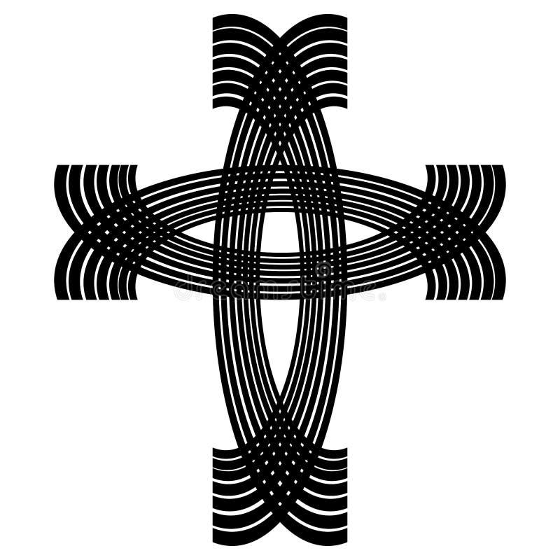 黑曲拱画的装饰基督徒十字架 库存例证