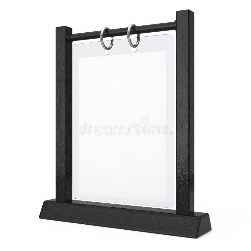 黑木白色空白的透明表板材轻碰菜单卡片 库存例证