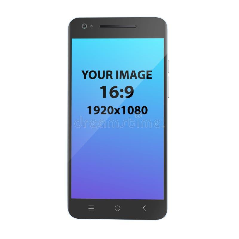 黑未打上烙印的智能手机,正面图,照片拟真的传染媒介大模型 向量例证