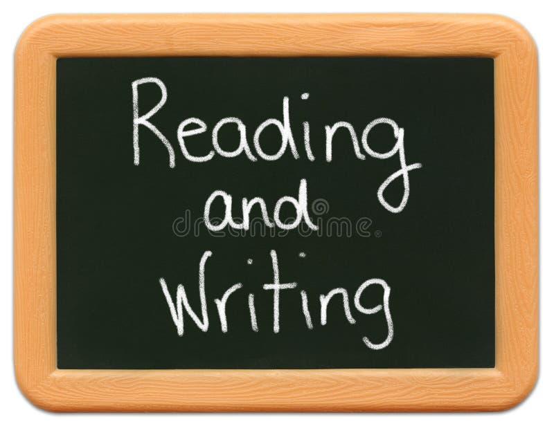 黑板儿童微型读取s文字 免版税图库摄影