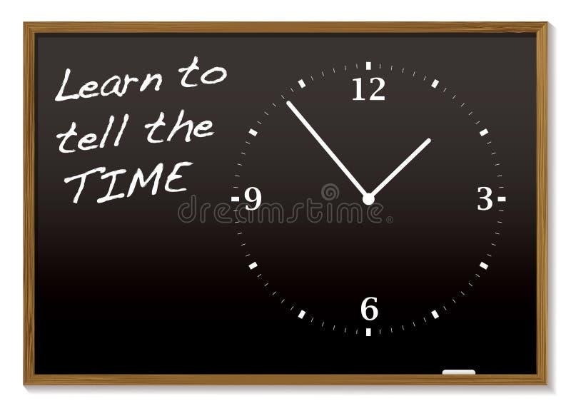 黑板告诉时间 皇族释放例证