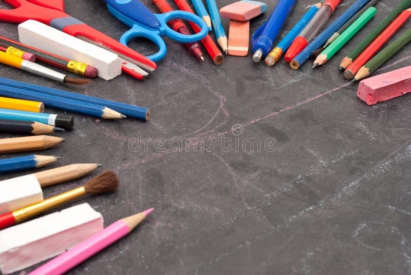 黑板学校工具 图库摄影