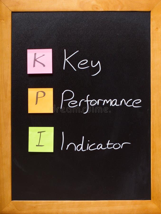 黑板指示符关键字kpi性能 免版税库存图片
