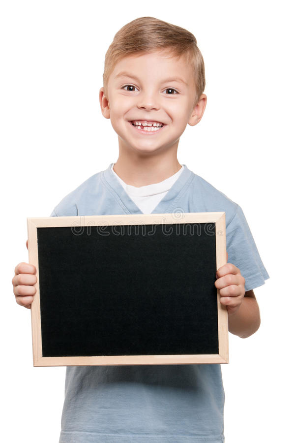 黑板男孩 免版税库存图片