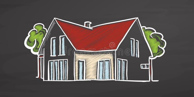 黑板的小色的房子 库存例证