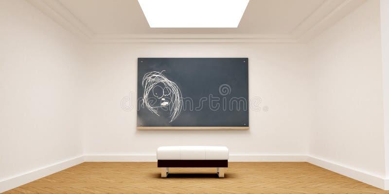 黑板粉笔画典雅的空间 库存例证