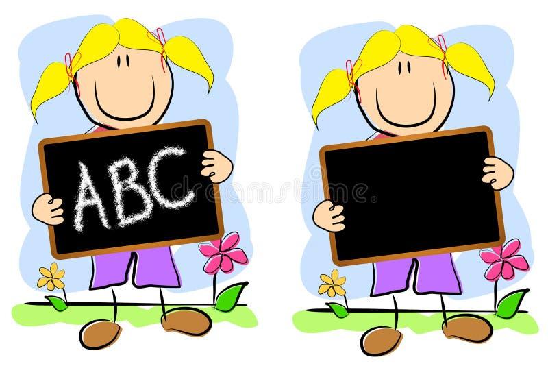 黑板纯稚图画女孩 向量例证