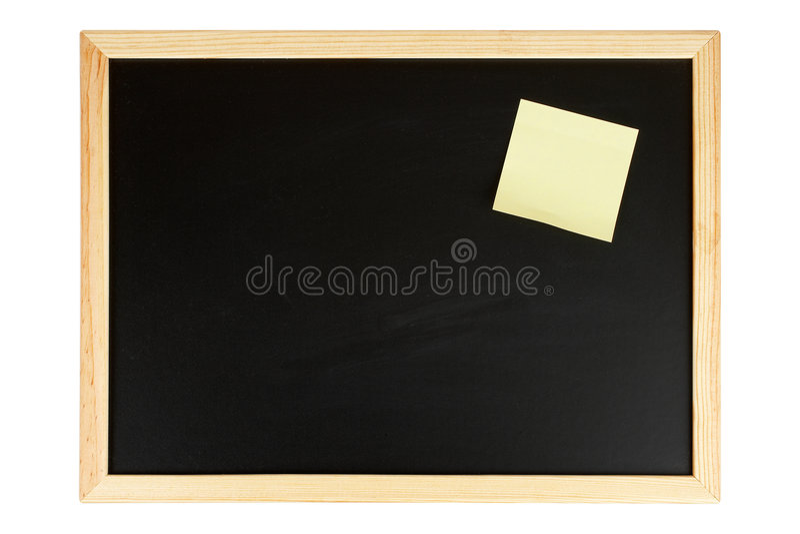 黑板附注黄色 免版税图库摄影