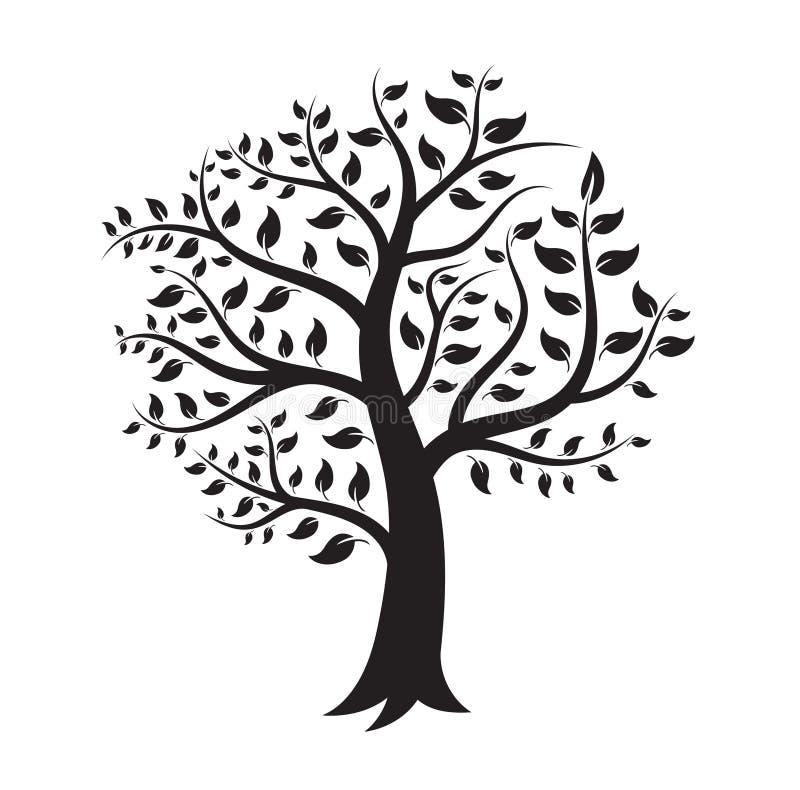 黑树商标剪影 库存例证