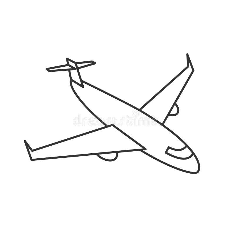 黑概述在白色背景的被隔绝的飞机 飞机的线路边视图 库存例证