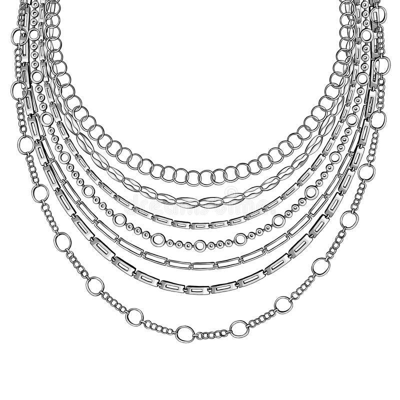 黑概述链子脖子鞋带 在与链子项链的白色背景隔绝的传染媒介 向量例证