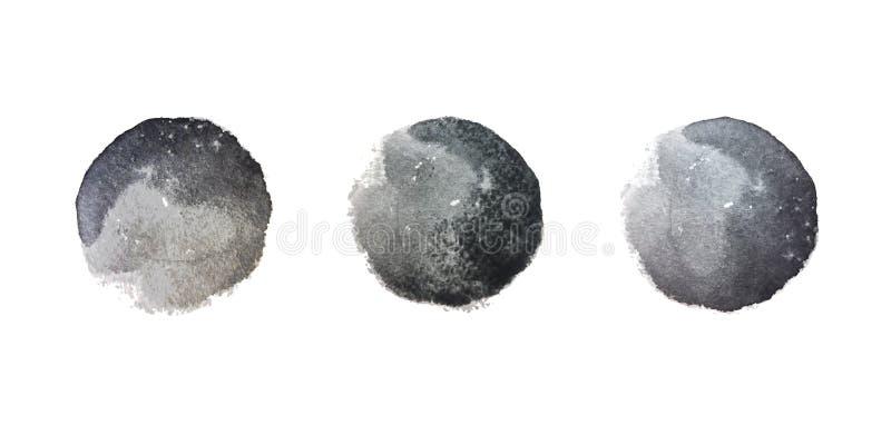 黑水彩污点 向量例证