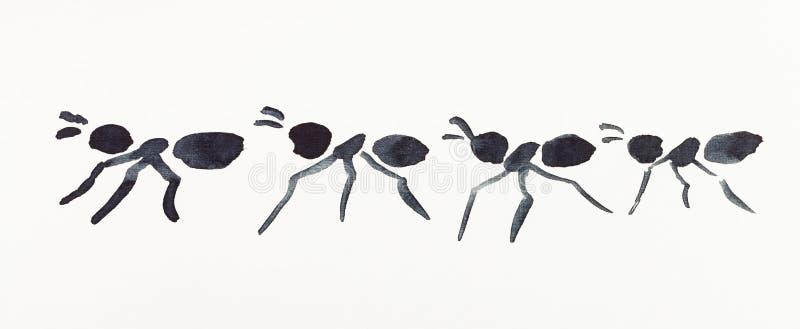黑水彩画的几只蚂蚁 库存例证