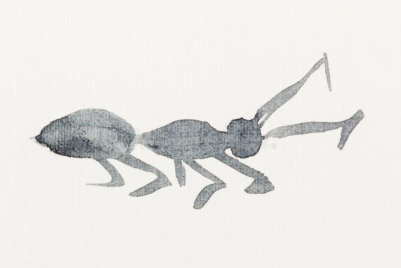 黑水彩画的蚂蚁剪影 库存例证