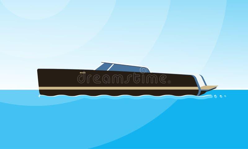 黑汽艇侧视图的现实平的样式例证在水的 在简单的现代船图象 库存例证