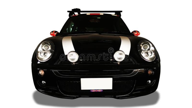 黑汽车正面图在白色背景的 库存照片