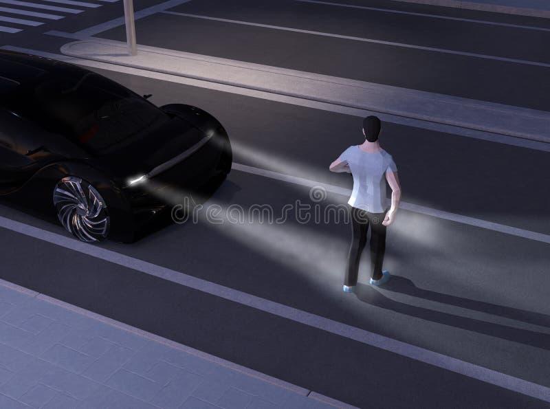 黑汽车紧急刹车避免从步行走的发怒路的交通事故在黑暗 库存例证