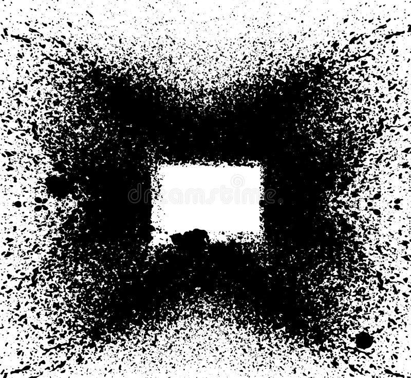 黑油漆,墨水飞溅,刷子着墨小滴,污点 肮脏的艺术性的设计元素,箱子,框架 与空间的难看的东西框架y的 向量例证