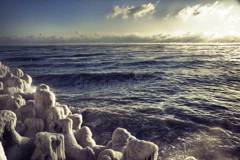 黑海冬天 免版税库存照片