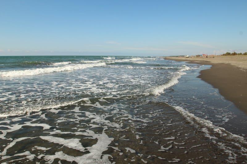 黑海和海滩在波季市,乔治亚附近 图库摄影