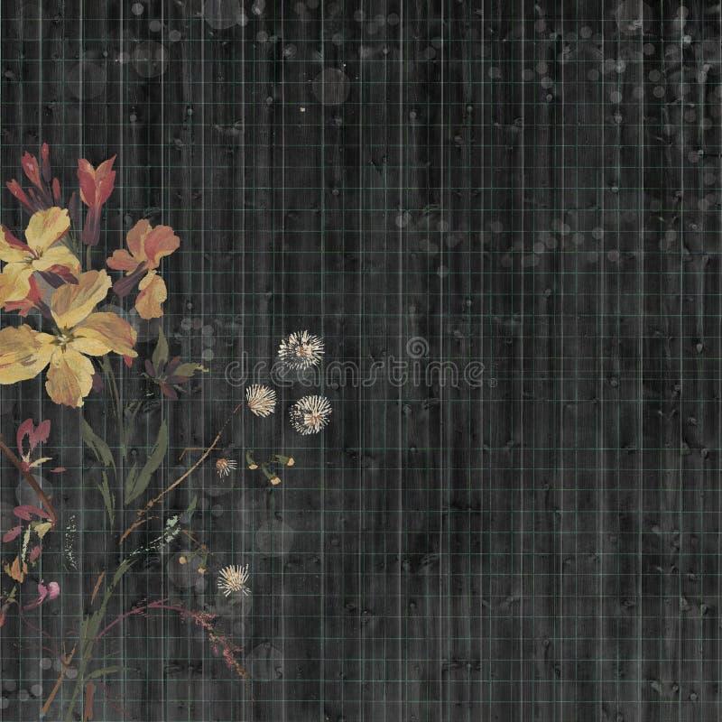 黑漂泊吉普赛花卉古色古香的与花的葡萄酒脏的破旧的别致的艺术性的抽象图解帐簿纸背景 免版税库存图片