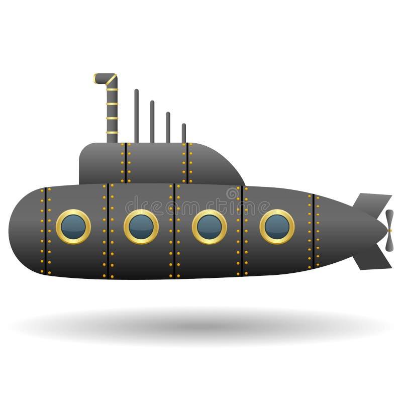 黑潜水艇 奶油被装载的饼干 动画片样式 查出的对象 蓝色云彩图象彩虹天空向量 皇族释放例证