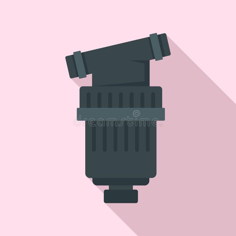 黑灌溉过滤器象,平的样式 库存例证