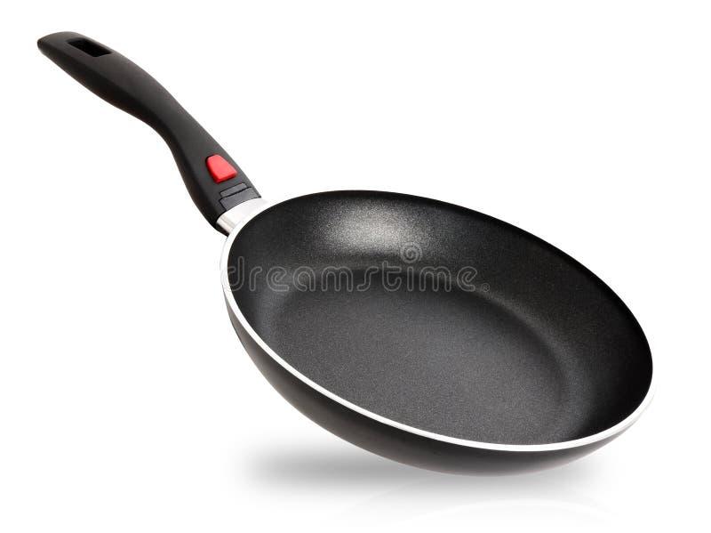 黑炸锅被隔绝在与拷贝空间的白色背景 r 关闭一个干净的钢使用的铁煎锅对象 库存图片