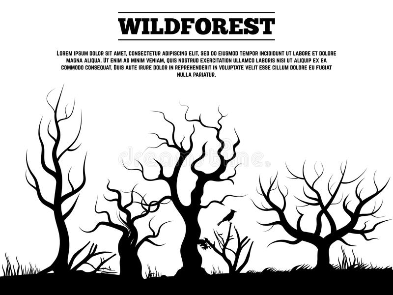 黑狂放的老森林风景背景 向量例证
