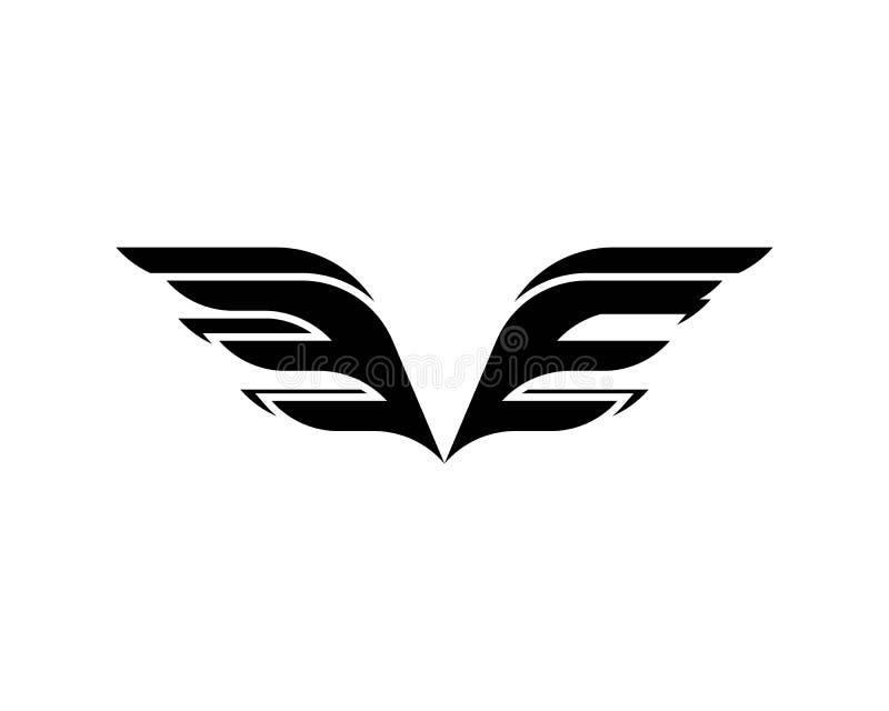 黑猎鹰翼商标模板传染媒介 向量例证
