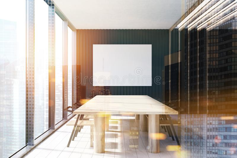 黑现代会议室内部,被定调子的海报 库存例证