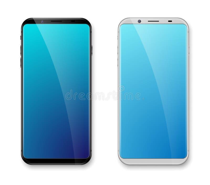 黑现实刃角少的智能手机的大模型白色和 容易的地方图象到有发光的层数的屏幕智能手机里 向量 库存例证