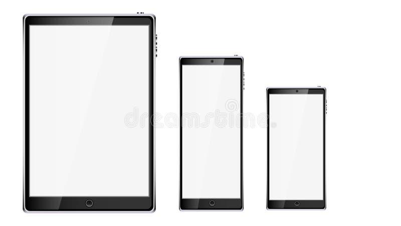 黑现实流动巧妙的触摸屏幕片剂计算机和两个手机,有光滑的黑屏的智能手机有拷贝spac的 向量例证