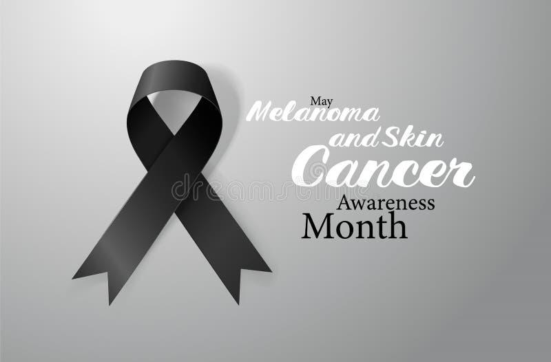 黑瘤和皮肤癌了悟书法海报设计 现实黑丝带 5月是巨蟹星座了悟月 皇族释放例证