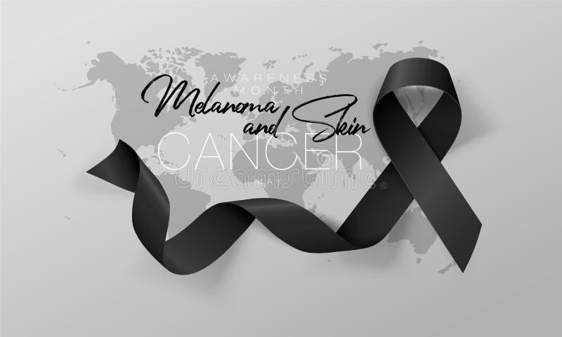黑瘤和皮肤癌了悟书法海报设计 现实黑丝带 r ?? 皇族释放例证