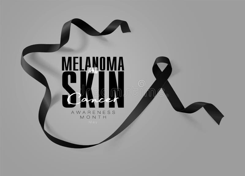 黑瘤和皮肤癌了悟书法海报设计 现实黑丝带 r ?? 库存例证