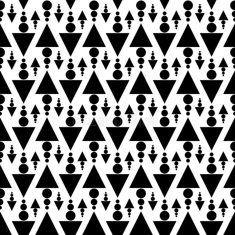 黑白三角和小点无缝的纹理 库存例证