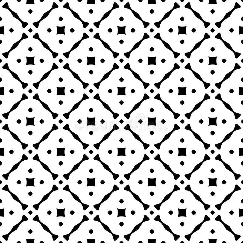 黑白与栅格的传染媒介摘要无缝的样式,金刚石塑造,星,菱形,格子,重复瓦片 向量例证