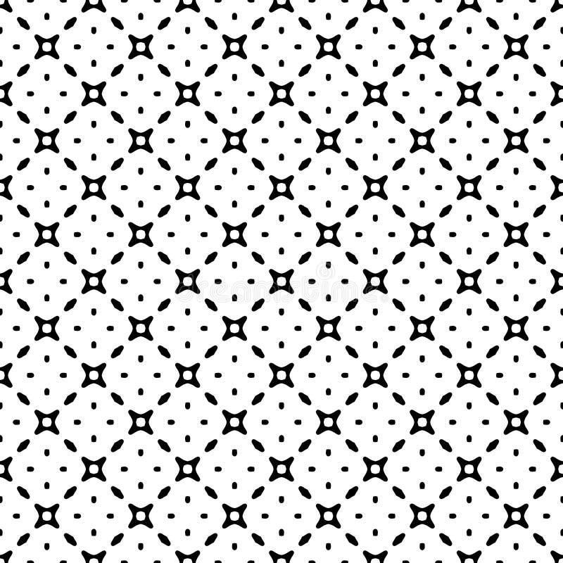 黑白与栅格的传染媒介摘要无缝的样式,金刚石塑造,星,菱形,格子,重复瓦片 皇族释放例证